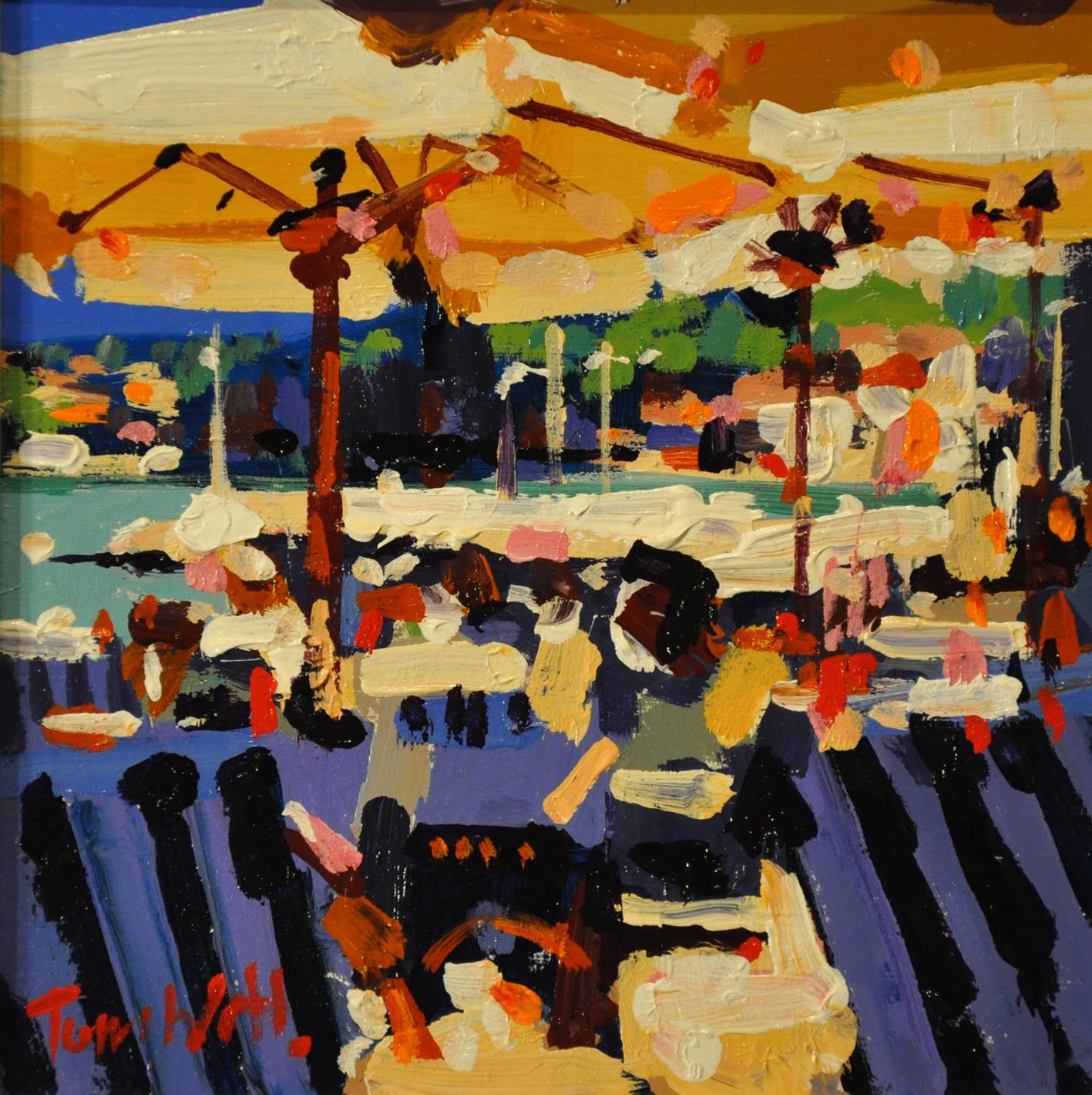 Crowded Cafe, Collioure I by Tom Watt
