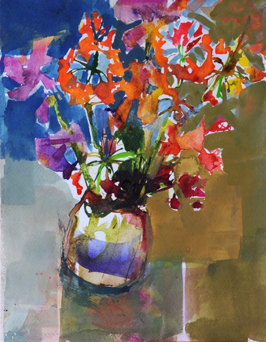 Sweetpeas & geraniums by Penny Lyall