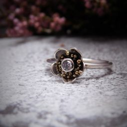 Diamond hawthorn flower ring by Sam Glendinning