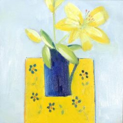 Blue Jug and Yellow Lily by Shirley Pinder