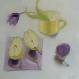 Purple and Yellow Still LIfe with Tulip by Shirley Pinder