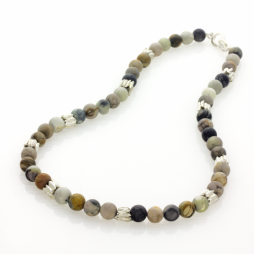 Picasso Jasper and Silver Cumin Seed Necklace by Fiona Hutchinson