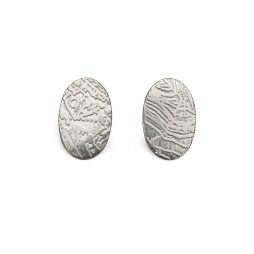 Contour Oval Earrings - Silver by Jo Pudelko