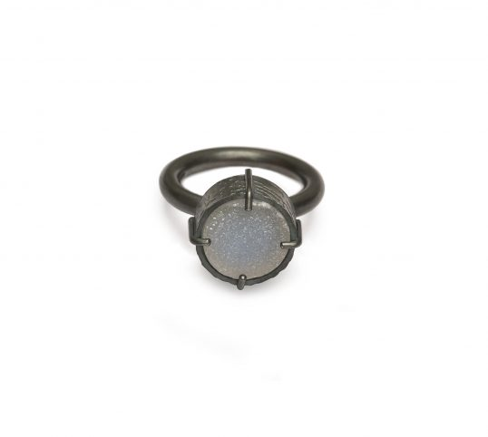 Silver and Quartz Druzy Ring by Jo Pudelko