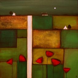 Patchwork Fields with Poppies by Jackie Henderson
