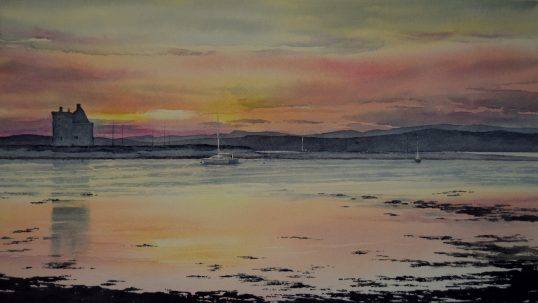 Sunset at Lochranza Harbour, Arran by Iain Harkess