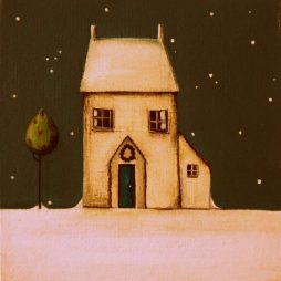 Wee Winter Cottage with Holly Tree. by Jackie Henderson