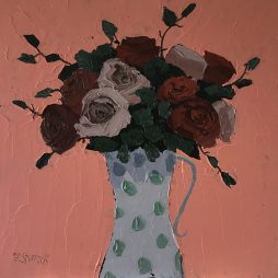 Mixed Roses in Spotted Jug by Fiona Sturrock