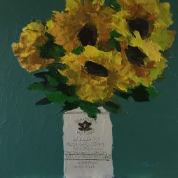 Sunflowers In Vintage Pot by Fiona Sturrock