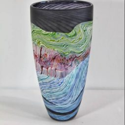 Sea shore-Stormy skies medium tall vase by Thomas Petit