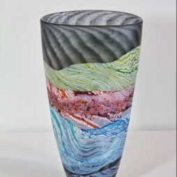 Sea shore-Stormy skies small tall vase by Thomas Petit