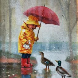 Joie de Vivre-Laughing in the rain by Mags Donald