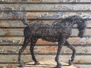 Black Wire Horse Sculpture by Linda Lewin