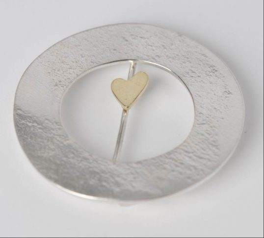 Sterling Silver Brooch with 18ct Gold Sliding Heart by Rhona Petrie