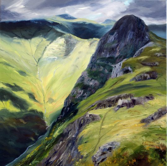 Wandering Shadows towards Pike O' Stickle by Angela Lawrence
