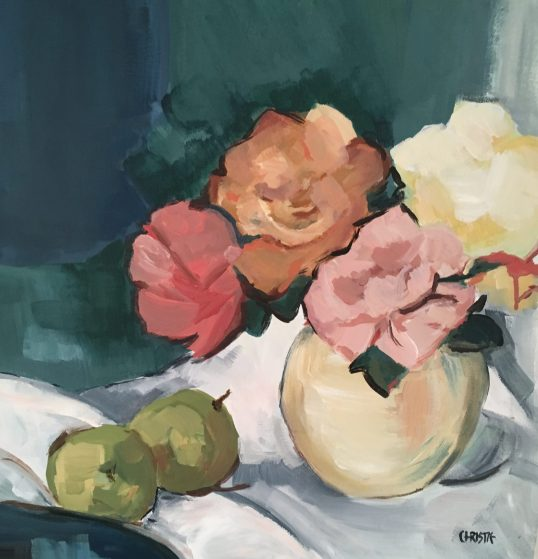 Roses and apple after Peploe by Sheena Christie