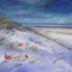 Bass Rock and Poppies by Allison Young