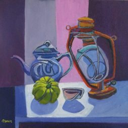 Still Life with Teapot and lamp by Davy Brown