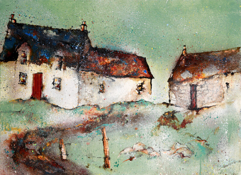 Cottages at Breasclete by Helen Acklam